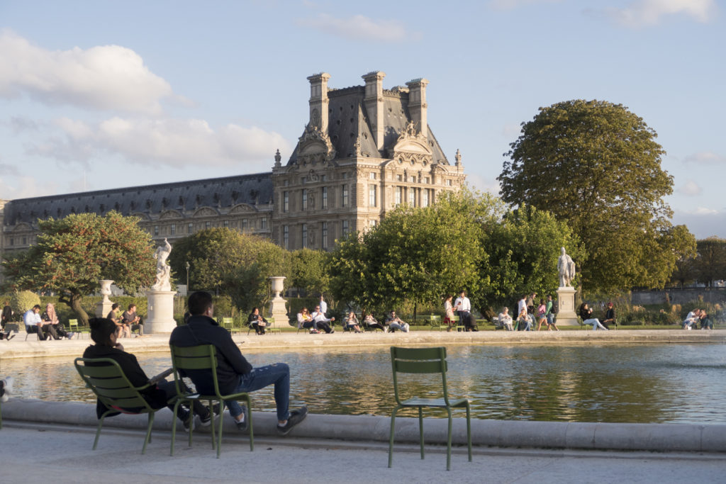View to the Jardin des Tuileries in Paris, France
