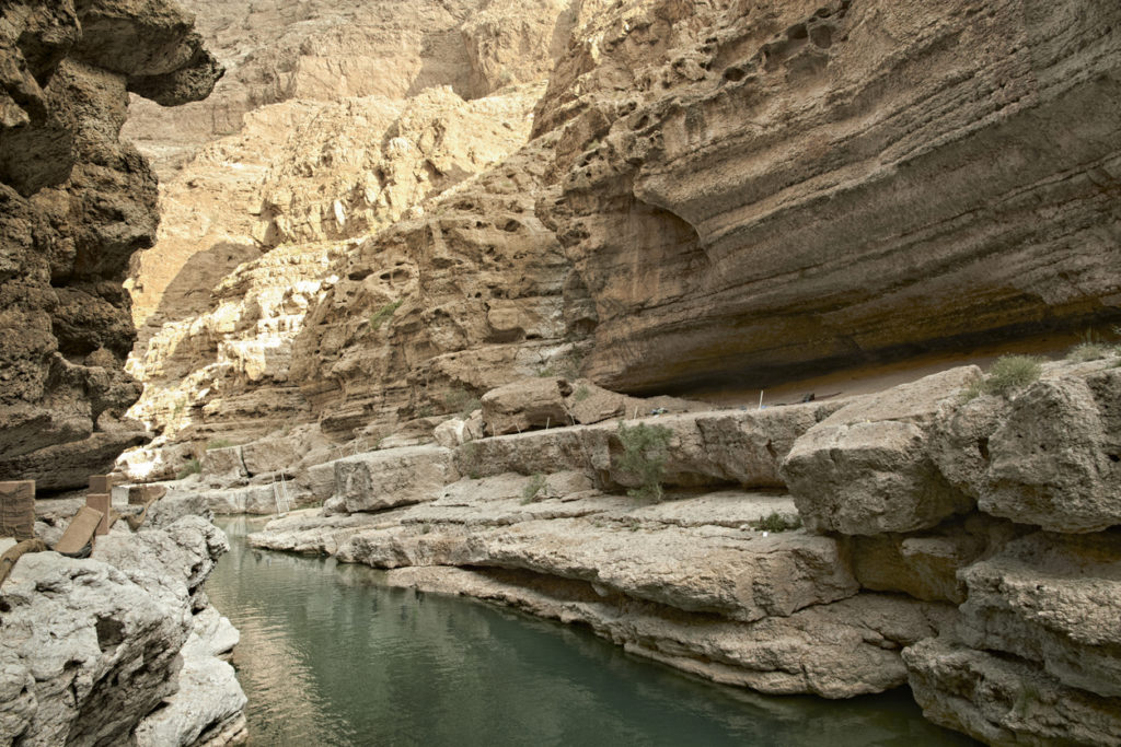 Wadi Shab, one of the most famous in Oman