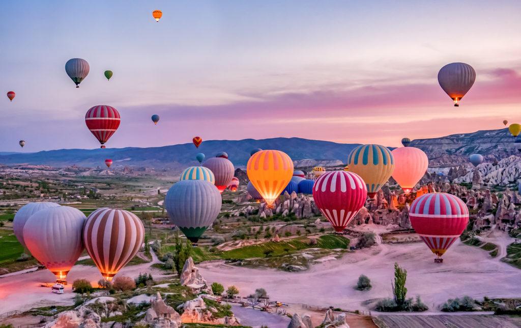 Hot air balloons before launch in Goreme national park, Cappadocia, Turkey