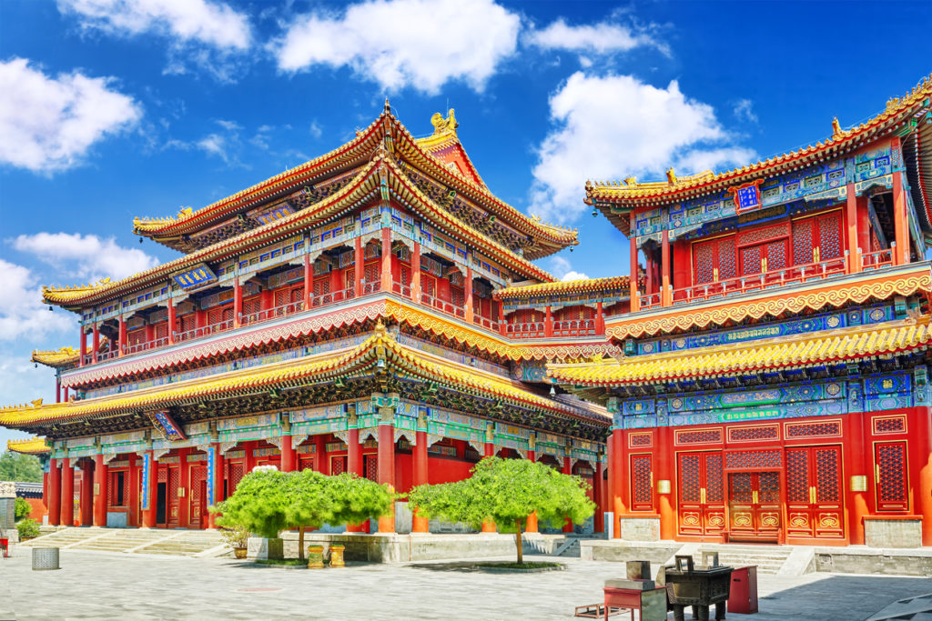 Yonghegong Lama Temple.The Hall of Harmony and Peace. Lama Temple is one of the largest and most important Tibetan Buddhist monasteries in the world.