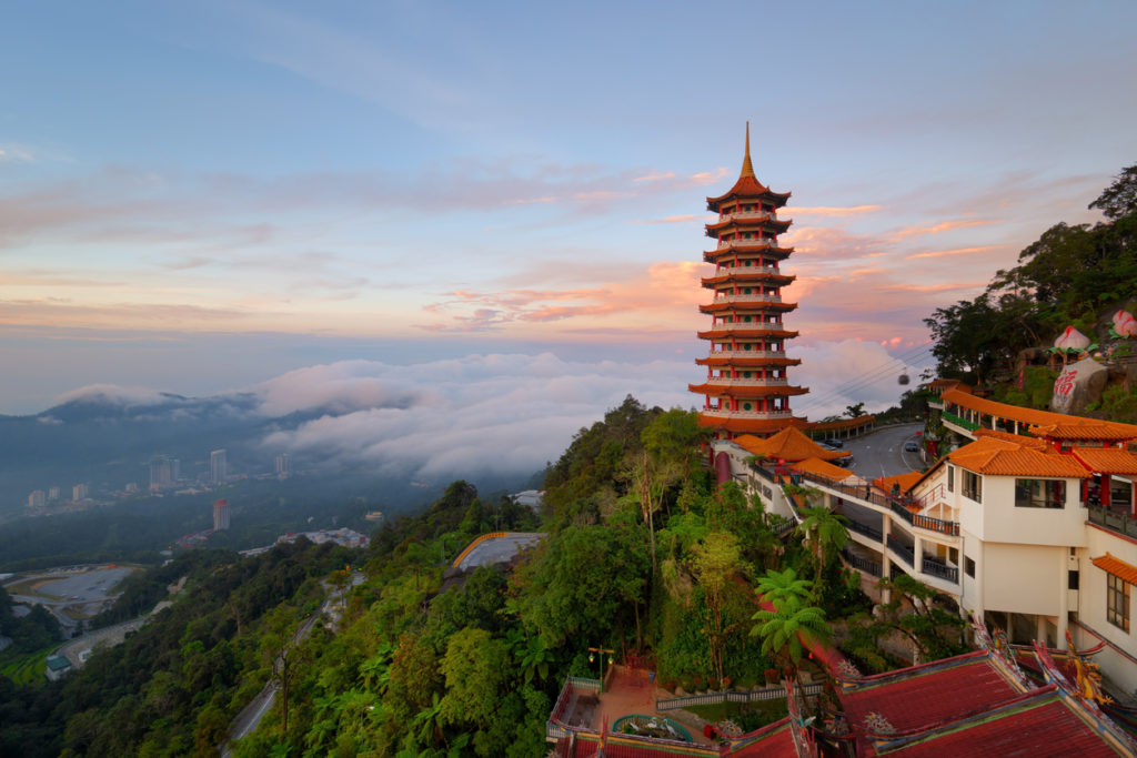 Beautiful sunrise view at the Chinese Chin Swee Caves Temple in Genting Highlands. It's a famous public tourism spot in Malaysia.