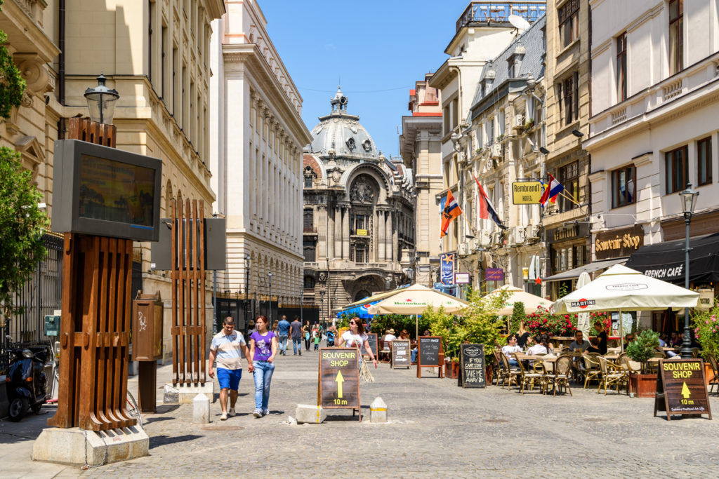 Lipscani Street, One Of The Most Busiest Streets of Central Bucharest.