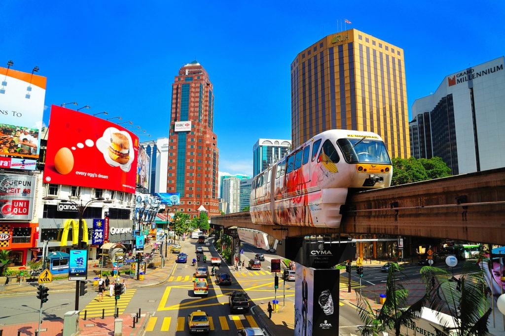 Monorail at Jalan Bukit Bintang and Jalan Sultan Ismail, Kuala Lumpur, Malaysia.