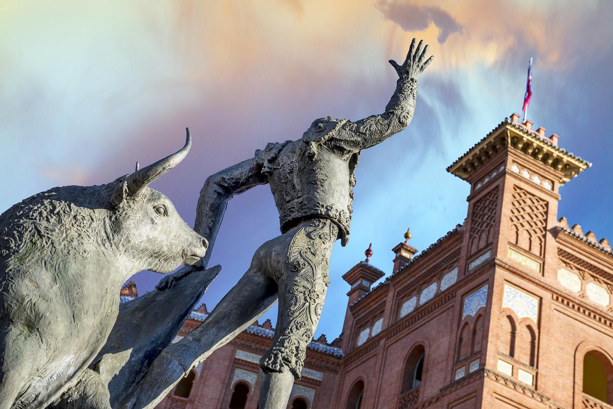 Bullfighter sculpture in front of Bullfighting arena Plaza de Toros de Las Ventas in Madrid