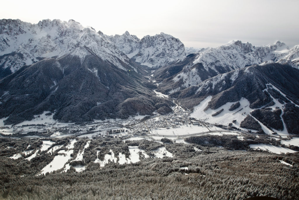 Mountains in Slovenia, Europe. Kranjska gora village with ski resort. Covered with snow in the winter time