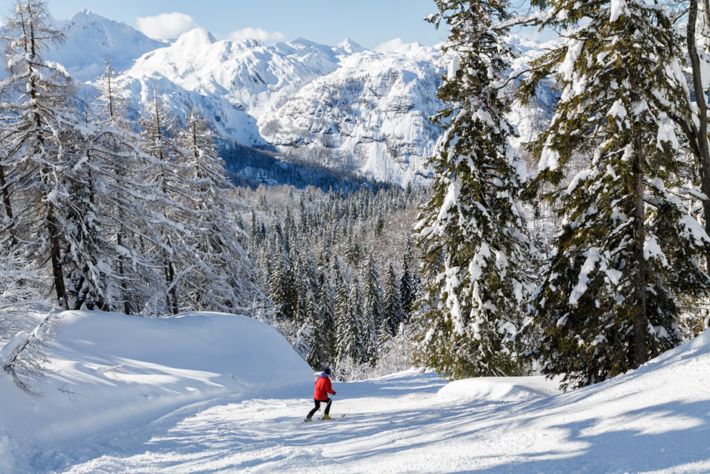 Snowy mountain landscape with the Julian Alps in Slovenia