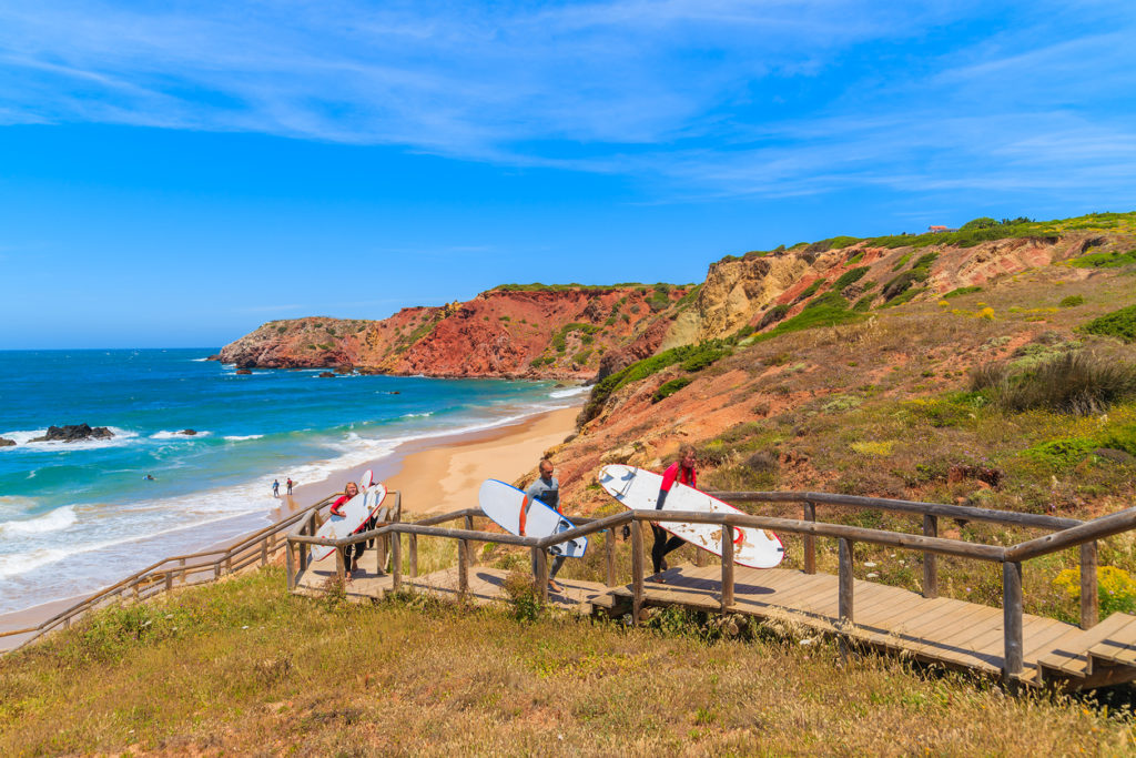 Algarve region in south of Portugal is very popular surfing destination