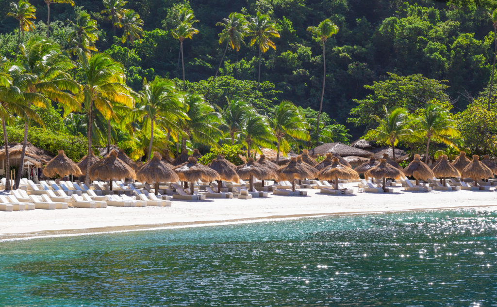 The beautiful white sandy beaches of St Lucia