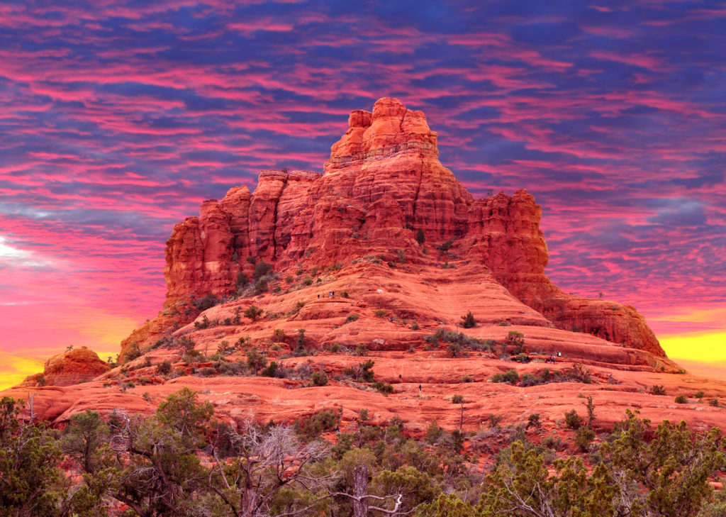 Bell Rock in Sedona, Arizona, USA at sunset.