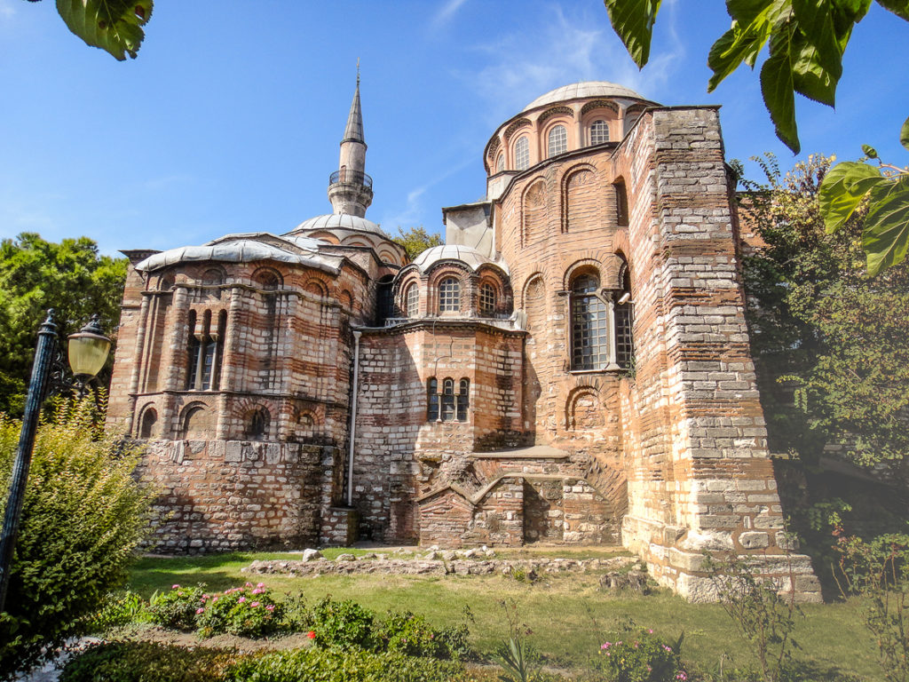Chora church in Istanbul. Ancient Byzantine church with unique mosaics and murals