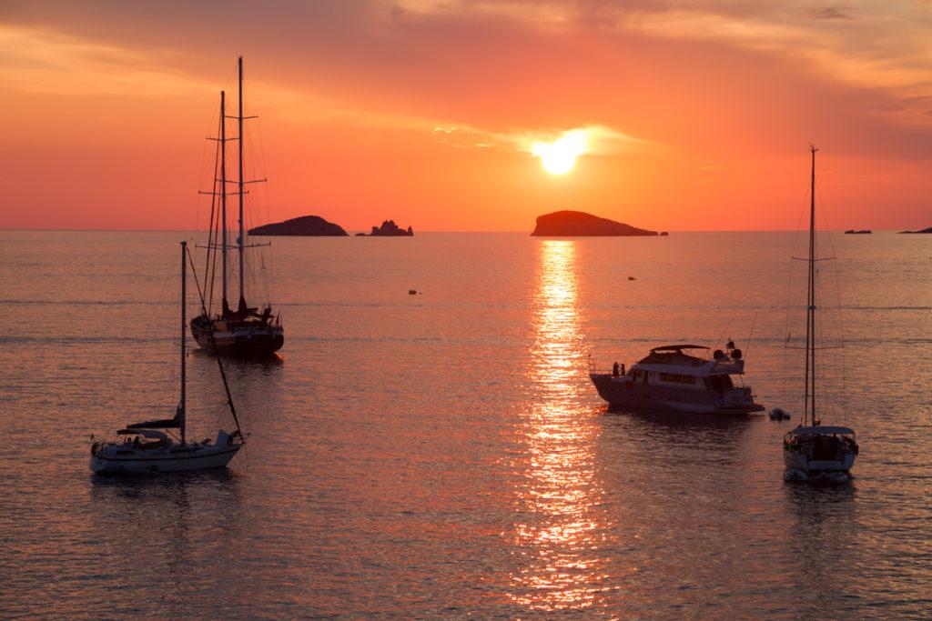 Sunset at coast of Ibiza
