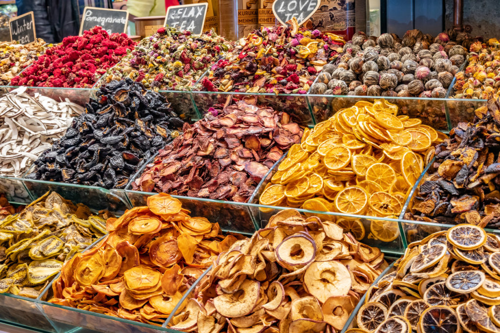 Dried fruits at the bazaar