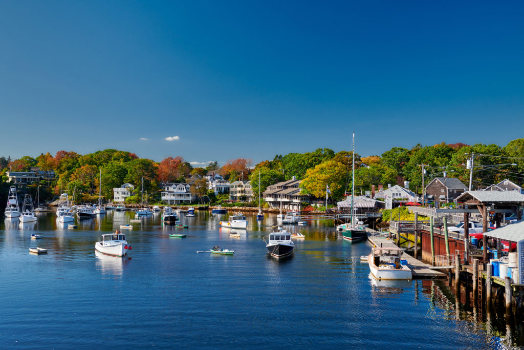 Fishing boats docked in Perkins Cove, Maine, USA