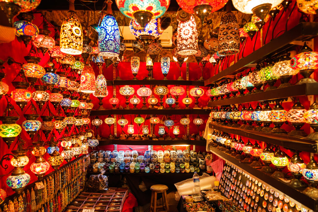 Oriental turkish lamps and lanterns exposed into a red bazaar at Istanbul market