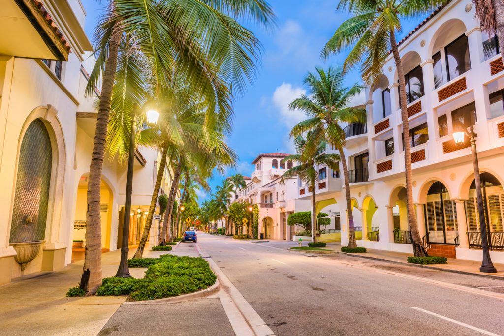 Palm Beach, Florida, USA at Worth Ave at twilightt.