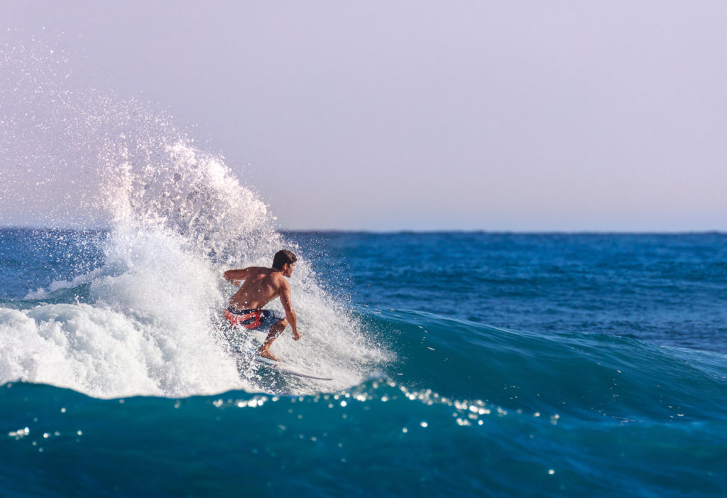 Surfing a left in the Dominican Republic