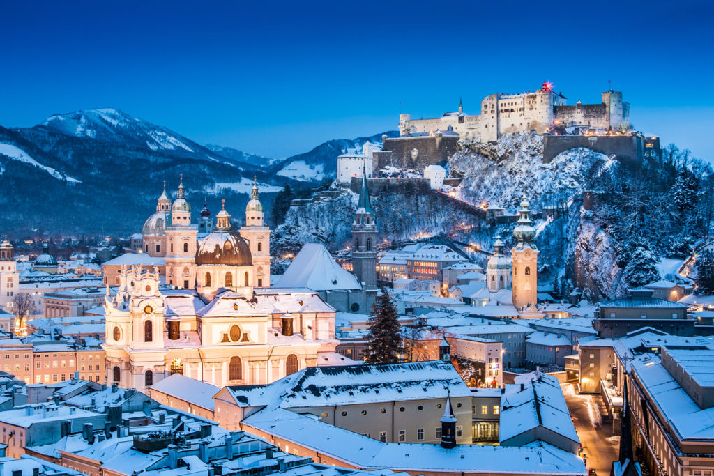 Beautiful view of the historic city of Salzburg with Festung Hohensalzburg in winter