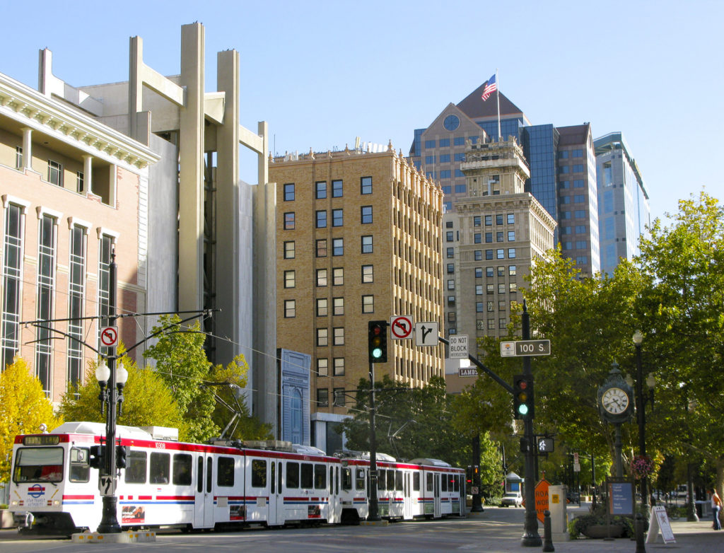 Cityscape with tram in Salt Lake City, Utah