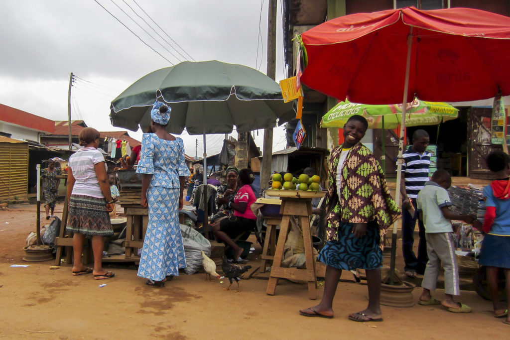 Commerce in the street in Lagos, Nigeria