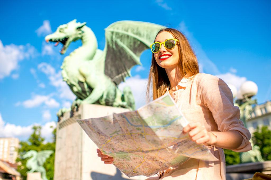 Woman with Dragon statue in Ljubljana city