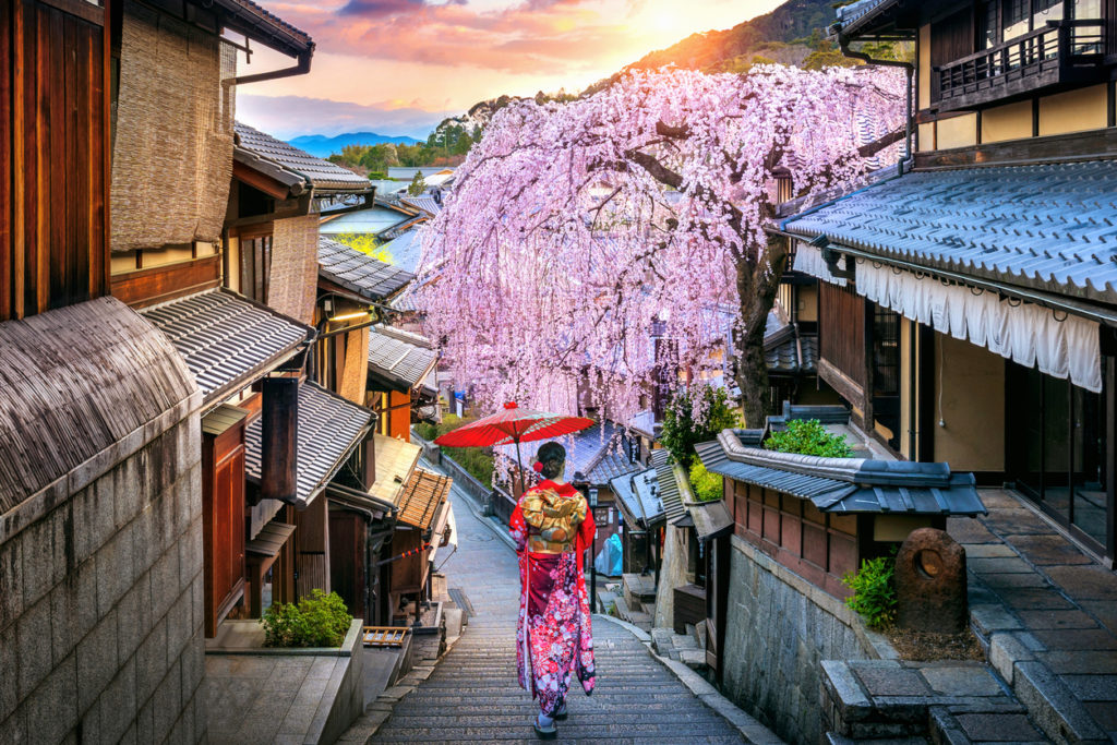 Japanese traditional kimono walking at Historic Higashiyama district in spring, Kyoto in Japan.