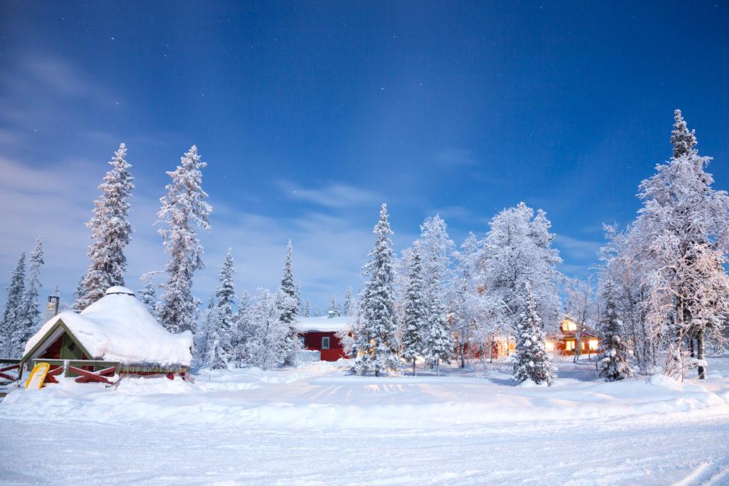 Kiruna Sweden at Night with star trail