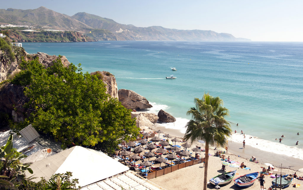 Nerja Beach Looking North, Malaga Province, Andalusia, Spain