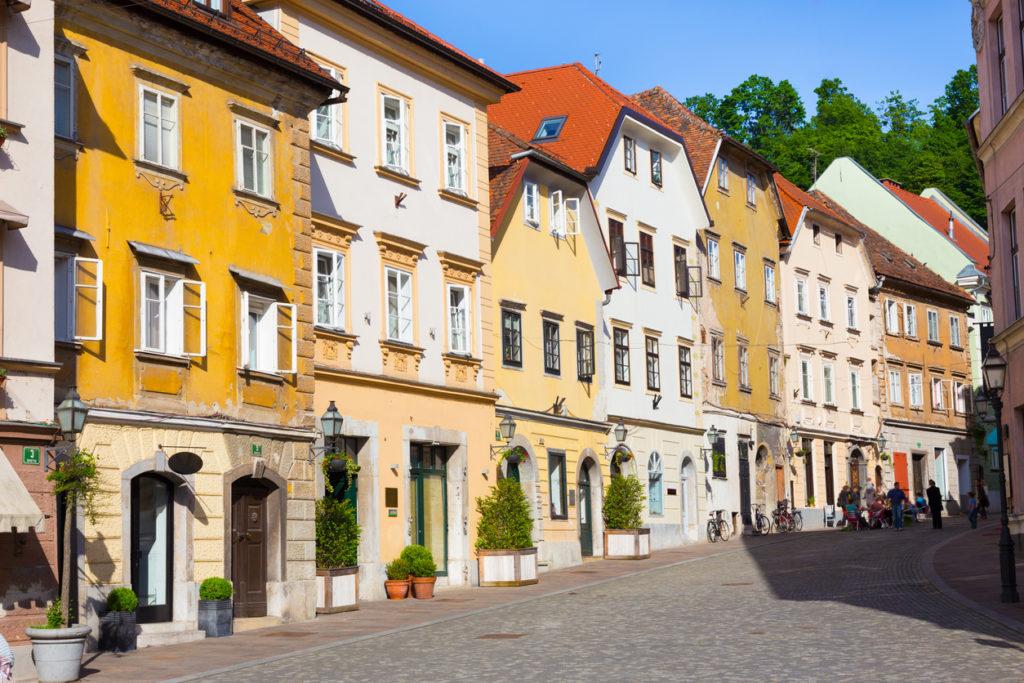 Old houses in Ljubljana, Slovenia, Europe.