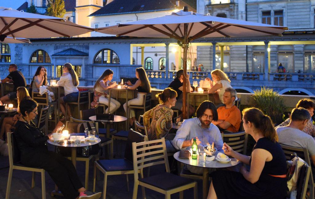 People at cafe in the center of Ljubljana.