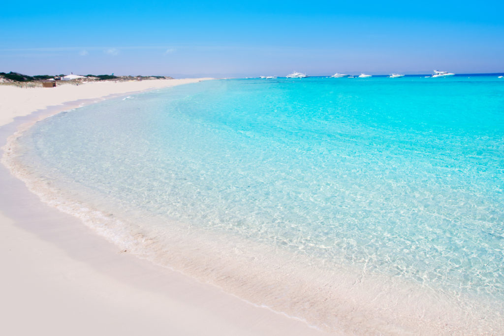 White sand and turquoise waters of Illetes Formentera