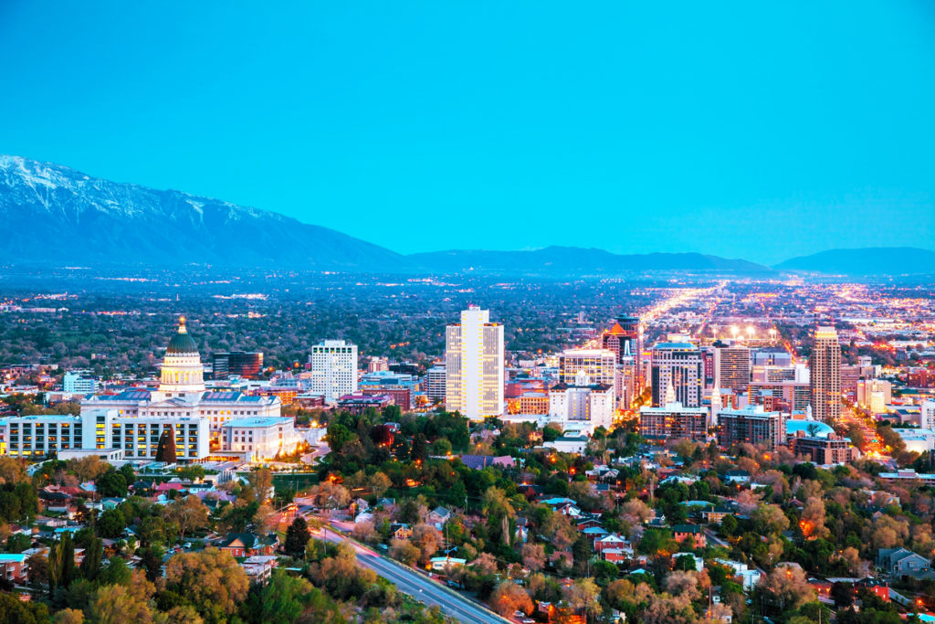 Salt Lake City overview early evening