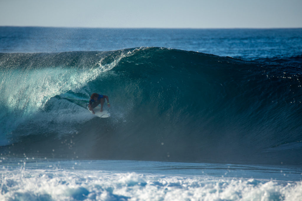 Surfing a Tube in Lanzarote