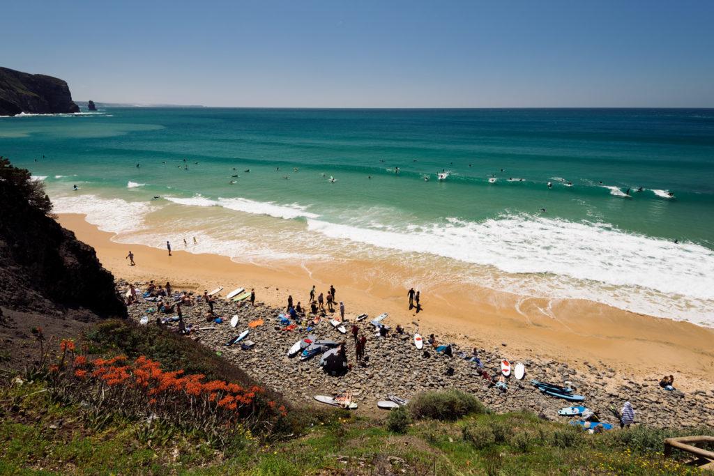 Surfing at Praia da Arrifana Aljezur