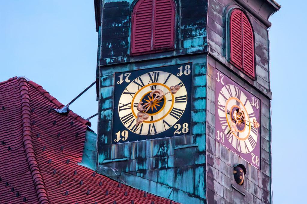 Clock in tower of City-hall in Ljubljana, Slovenia.