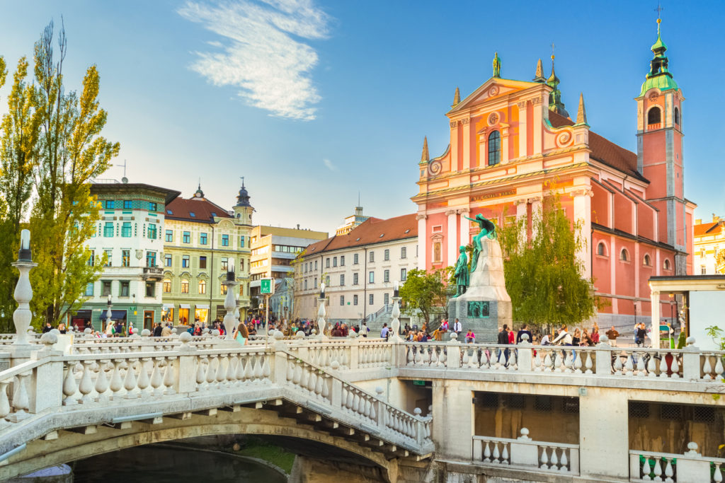 Preseren square and Franciscan Church of the Annunciation, Ljubljana, Slovenia, Europe.