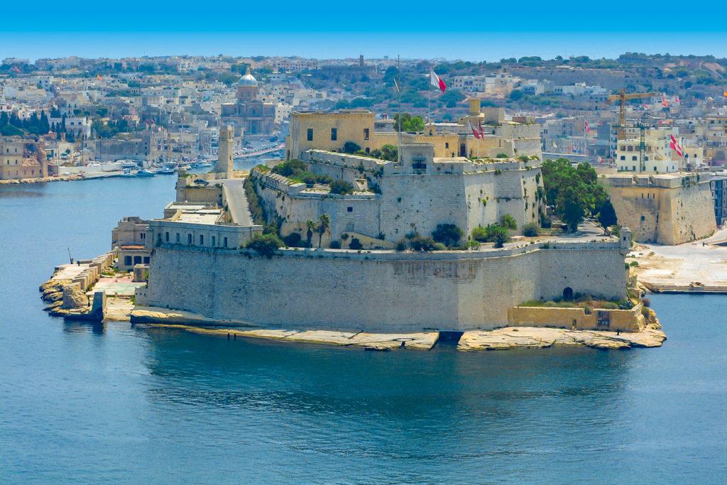 Fort St. Angelo in Birgu, Malta in the Grand Harbour of Malta