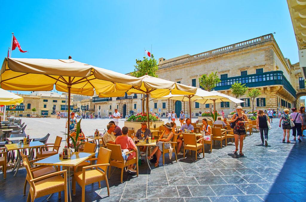 Outdoor cafe in Old Theatre street, Valletta, Malta