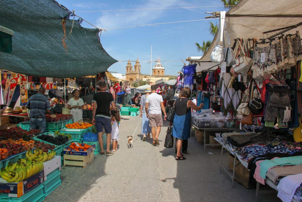 People walking on traditional sunday fishmarket
