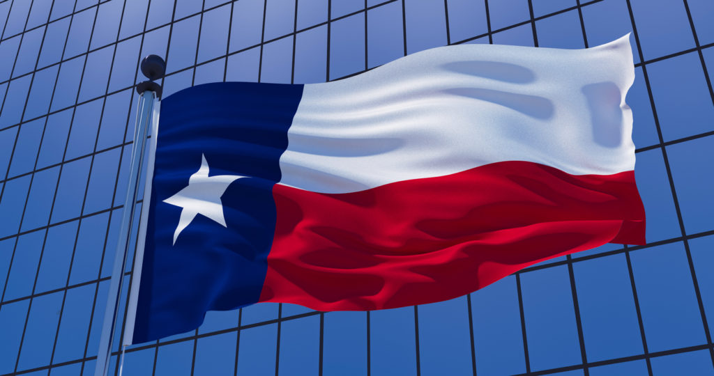 Texas flag on a skyscraper building