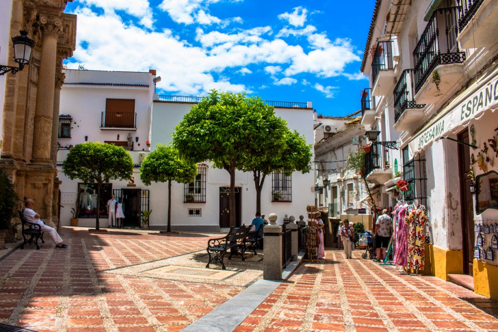 A sunny day in the street of Marbella.