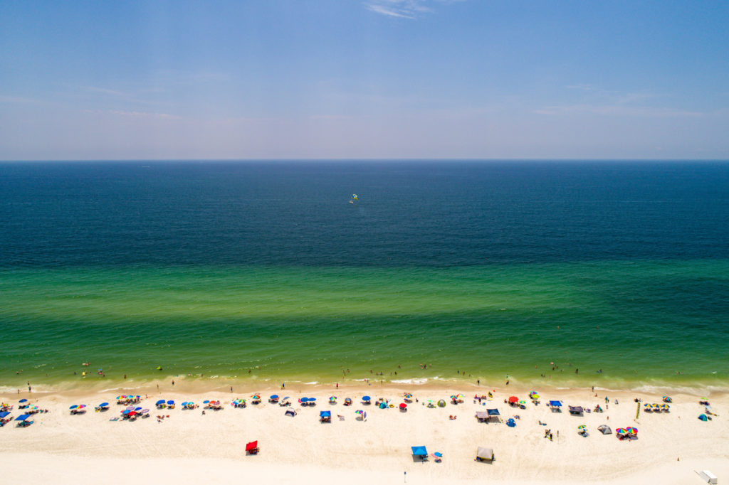 Aerial view of Gulf State Park and Gulf Shores