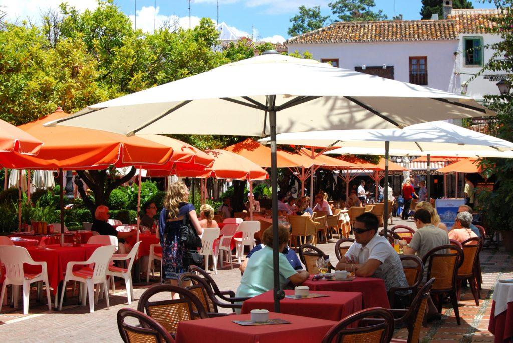Cafes in Orange Square, Marbella, Spain.