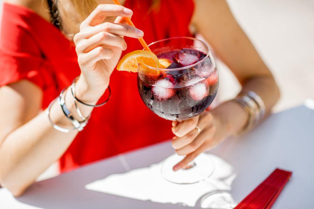 Enjoying a glass of Sangria