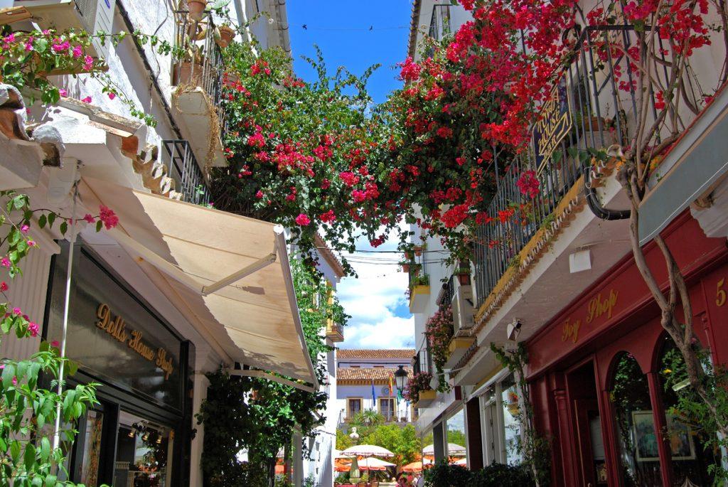 Shopping alleyway, Marbella, Spain.