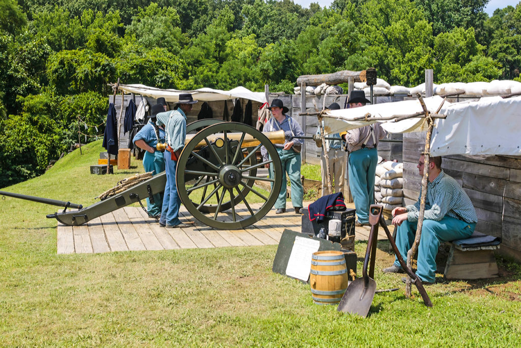 US Civil War Artillery reenactment in Vicksburg Mississippi