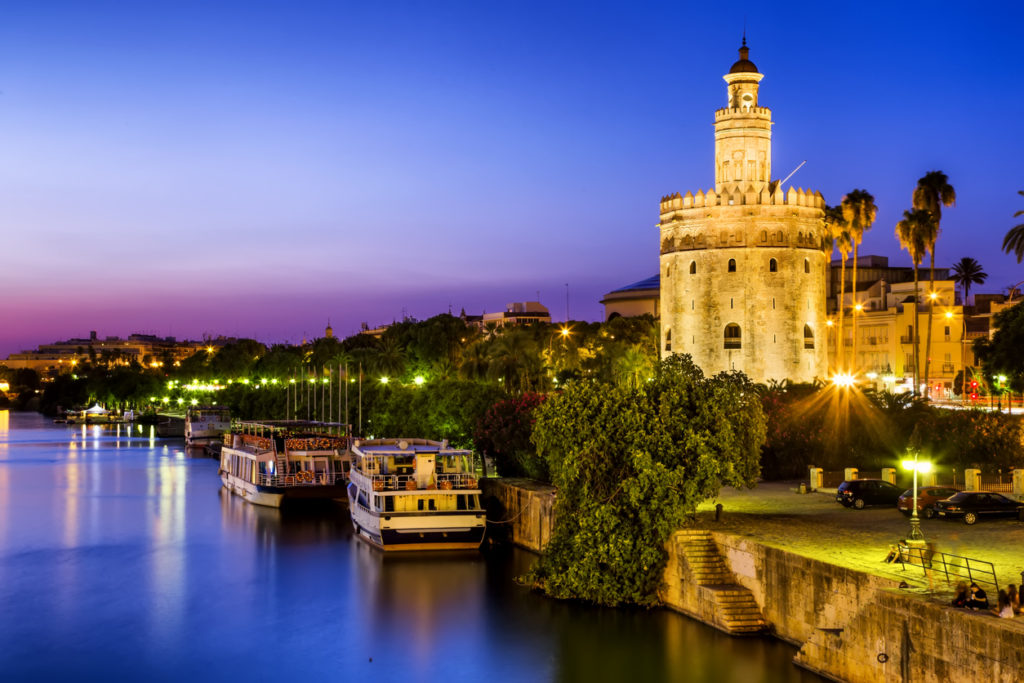 View of Golden Tower (Torre del Oro), Seville, Andalusia, Spain