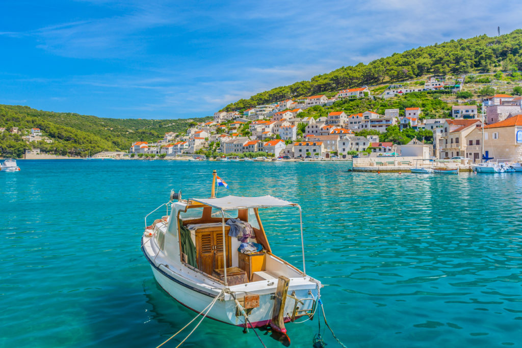 Waterfront view at small picturesque town Pucisca, Island of Brac