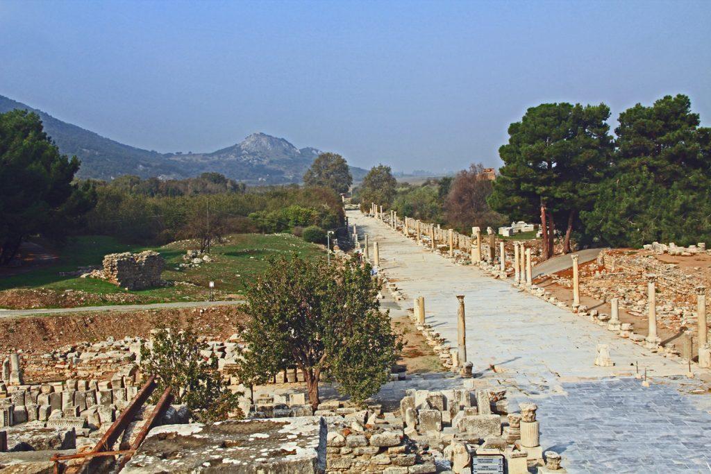 Harbour Street Archaeological Ruins in Ephesus Turkey