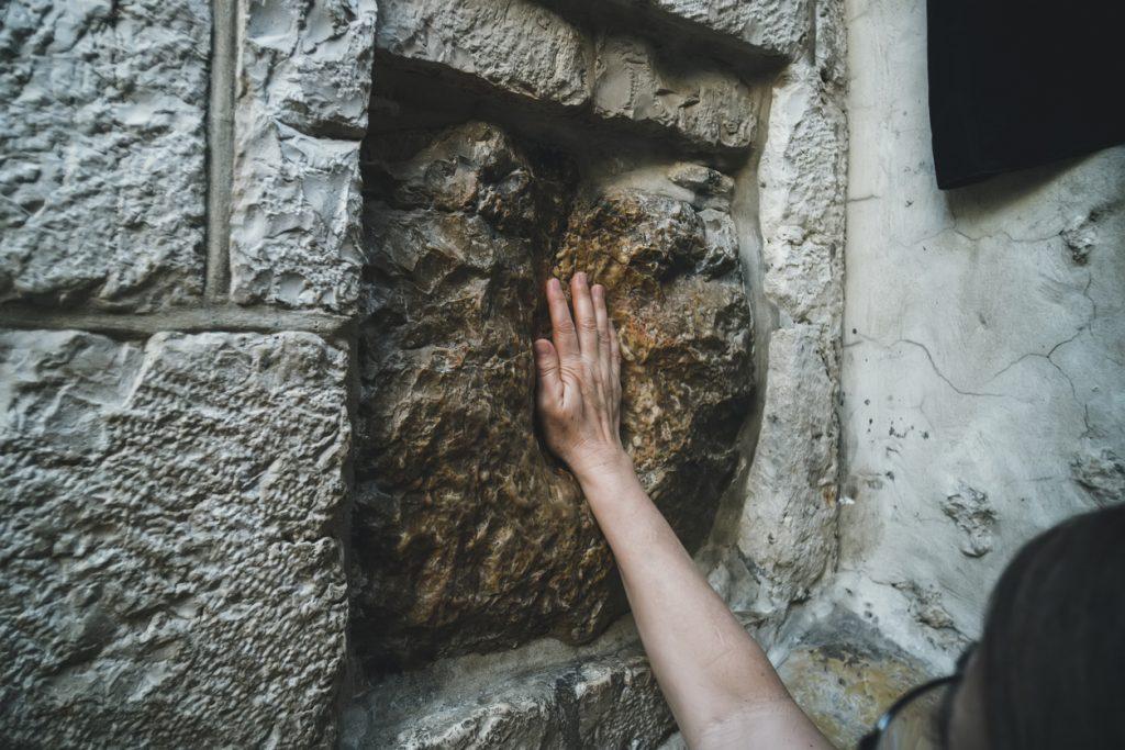 Holy stone on The Via Dolorosa