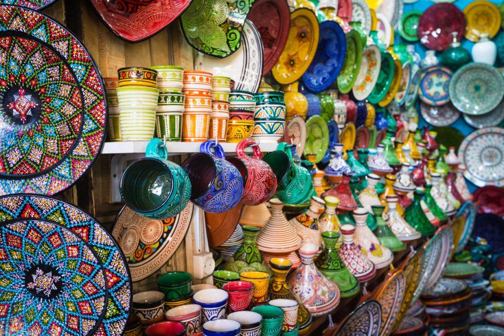 Moroccan souk crafts souvenirs